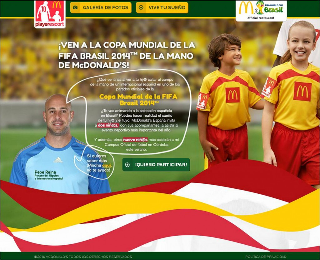 Vive tu sueño Pepe Reina McDonalds FIFA world cup brasil 2014 player escort