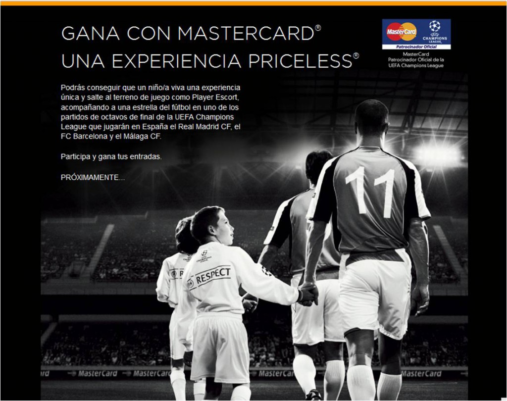player escorts priceless experience master card sponsor champions league