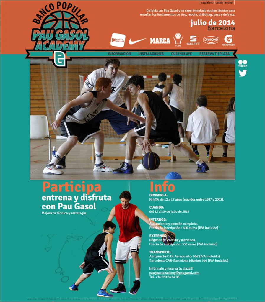 Banco Popular Pau Gasol Academy Campus Barcelona 2014